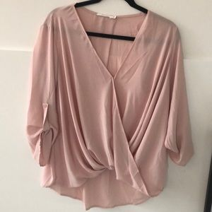 Lush blush faux wrap blouse size medium